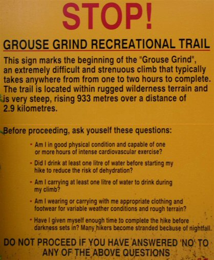 Grouse Grind Web Sign
